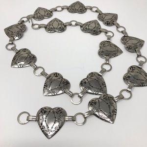 Vintage Concho Belt XS-L Heart Shape Silver Tone